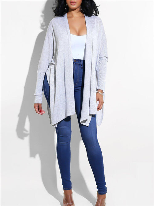 Side Slit Long Sleeve Solid Color Casual Coat