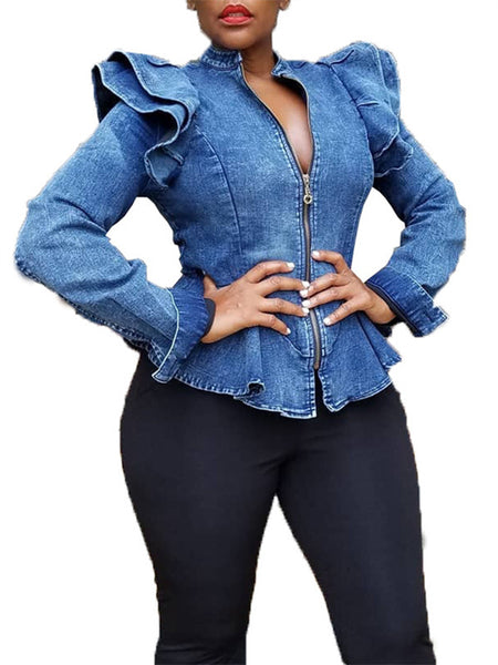 Ruffled Zip Up Long Sleeve Denim Coat