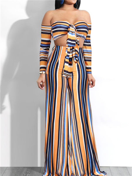 Off the Shoulder Colorful Striped Sexy Two Piece Sets