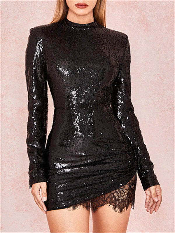Sequined Lace Patchwork Long Sleeve Mini Dress