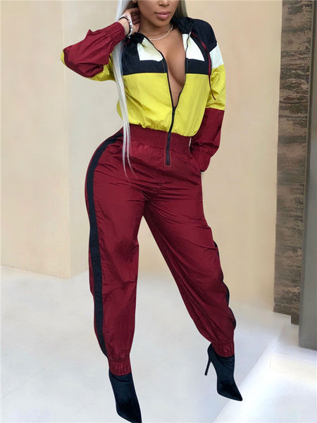 Zip Up Color Block Long Sleeve Casual Jumpsuit
