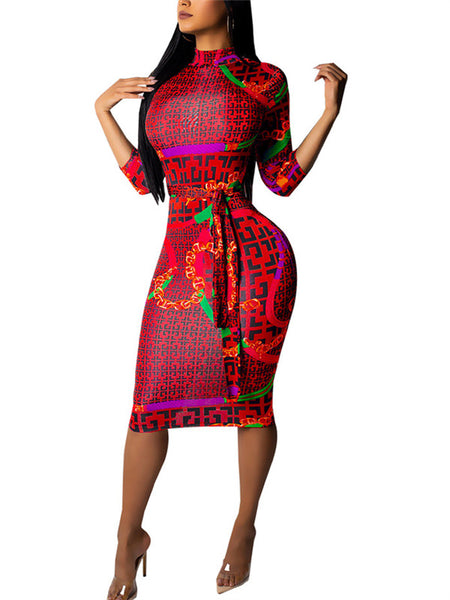 Three Quarter Sleeve High Neck Printed Midi Dress