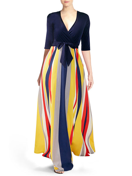 V-Neck Rainbow Stripe High Wasit Maxi Dress