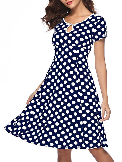 Polka Dot Keyhole Neckline Short Sleeve Midi Dress