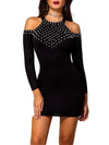 Rhinestone Halter Bodycon Long Sleeve Mini Dress
