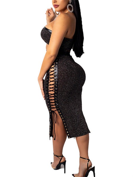 High Waist Lace Up Strapless Sexy Club Two Piece Dress
