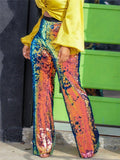 High Waist Sequined Colorful Pants
