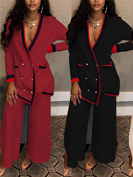 Long Sleeve V Neck Button Up Pocket Two Piece Sets