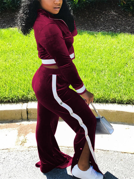 High Waist Zip Up Side Slit Two Piece Sets