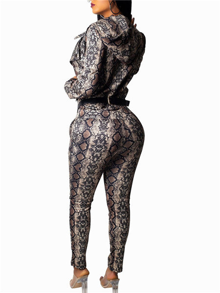 Snake Print Zip Up Hooded Two Piece Sets