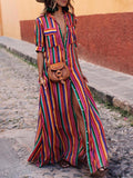 Plus Size Rainbow Stripe Button Pocket Casual T-Shirt Dress
