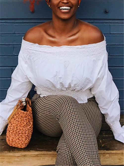 Off the Shoulder Ruffle Sleeve Solid White Blouse