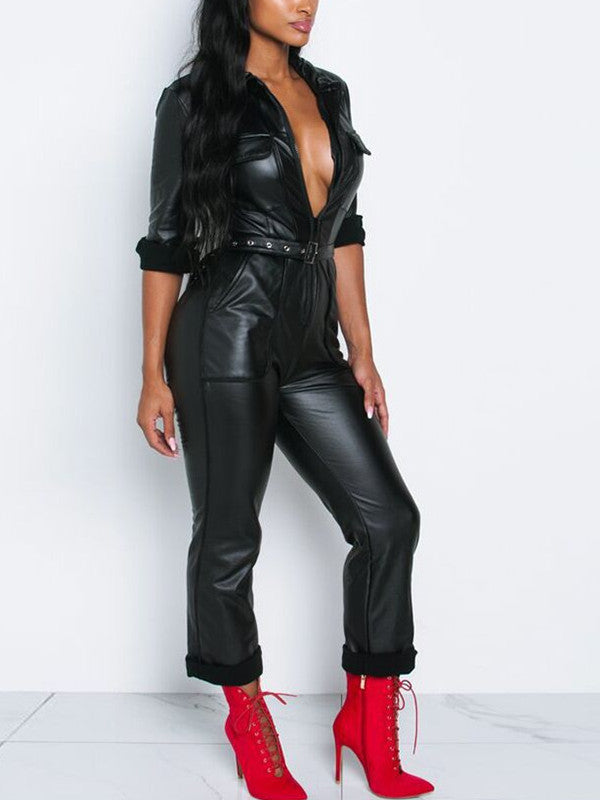 Zip Up Long Sleeve Pocket PU Jumpsuit