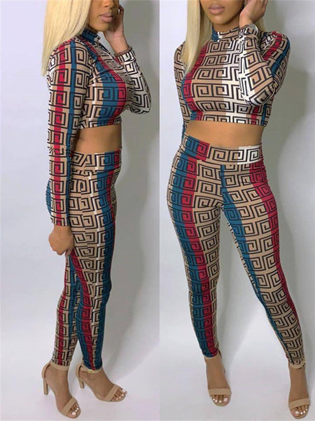 Fashion Patchwork Two Piece Outfits