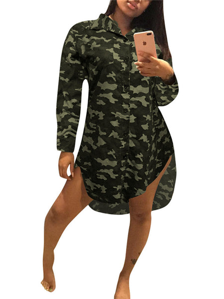 Camouflage Button Up Long Sleeve Shirt Dress