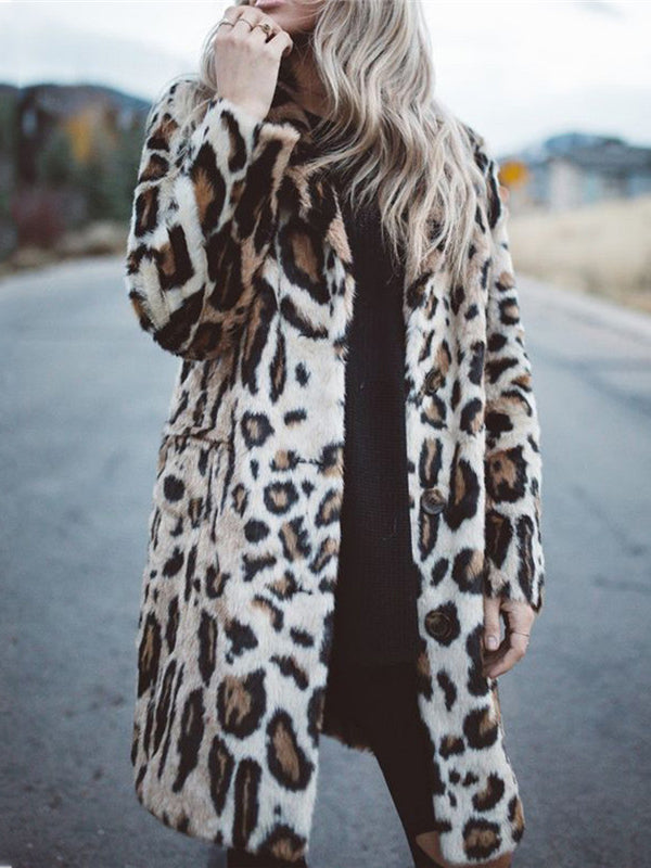 Leopard Print Pocket Long Sleeve Casual Coat