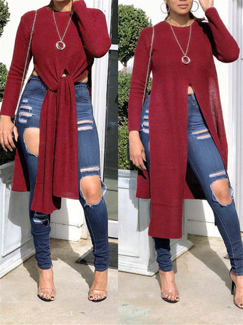 Solid Color High Slit Long Sleeve Sweater