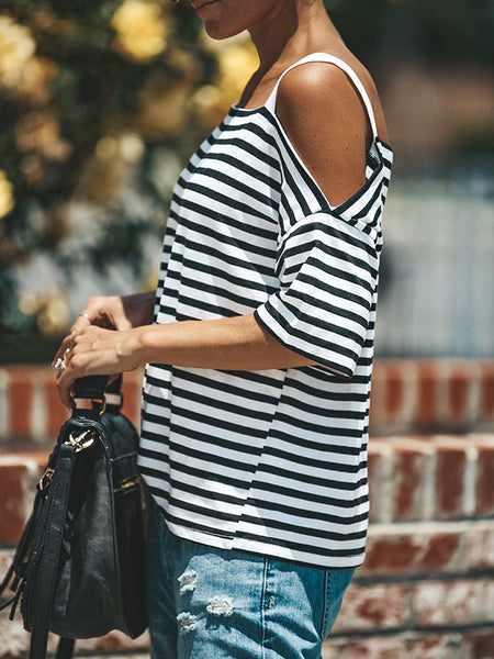 Stripe Off The Shoulder Casual T-Shirt