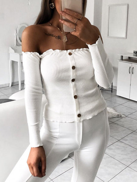 Off The Shoulder Button Solid Color Shirt