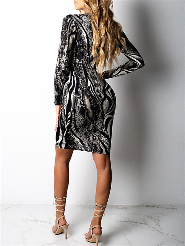 Plunging Neckline Long Sleeve Printed Mini Dress