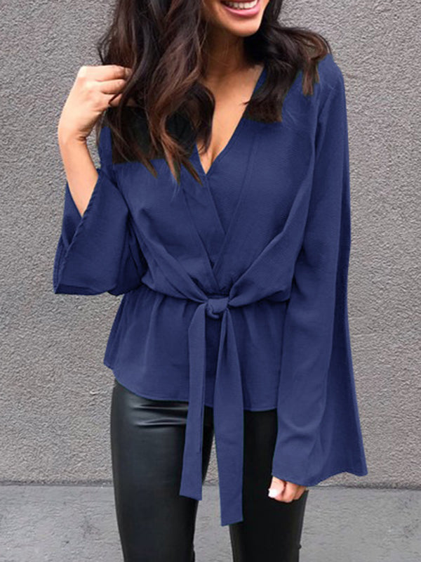 Chiffon V-Neck Flare Sleeve Solid Color Blouse