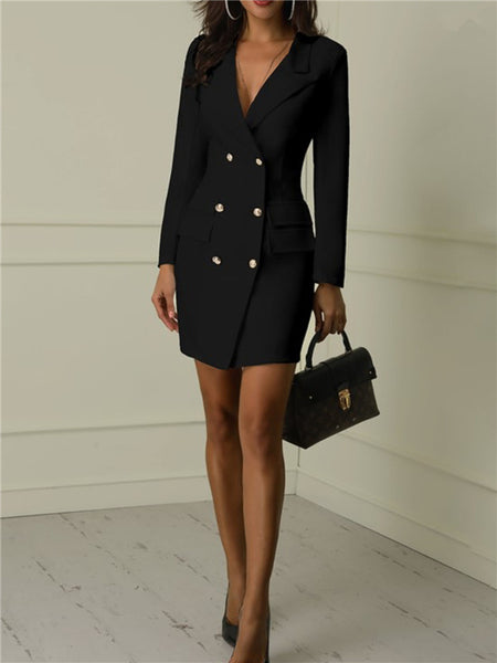 1099218ab739 Long Sleeve Button Up Solid Color Blazer Dress – ForeverShe