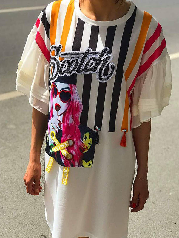 Ruffle Rainbow Stripe Cartoon Print Casual Midi Dress