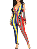 Deep V-Neck Slit Sleeve Rainbow Stripe Belted Casual Jumpsuit