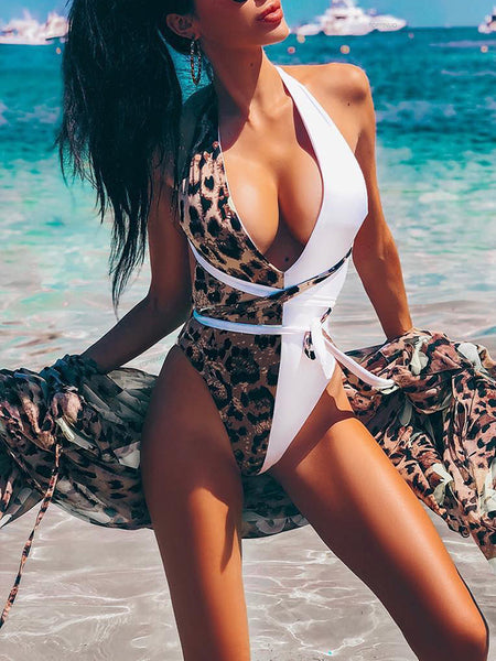 Leopard Print Criss Cross V-Neck One Piece Swimwear