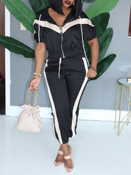 Hooded Collar Zipper Up Pocket Two Piece Outfits