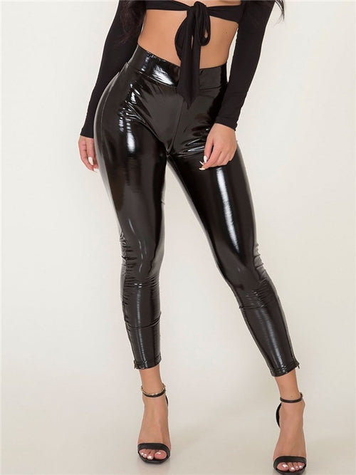 High Waist Solid Black PU Pants
