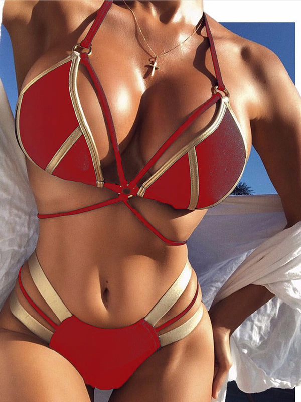 Color Splicing Bandage Sleeveless Bikini Set