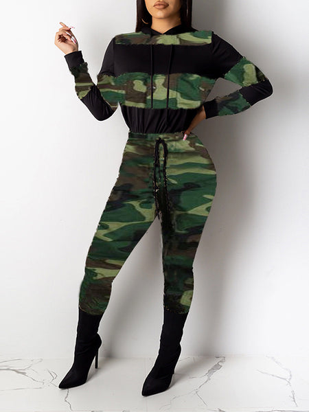 Drawstring Waist Camouflage Block Two Piece Sets