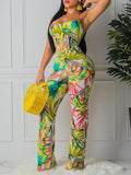 Bandage Printed Sleeveless Casual Jumpsuit