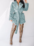 Wide Lapel Fur Solid Color Coat With Belt