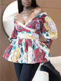 Peplum Waist Flower Print Off the Shoulder Blouse