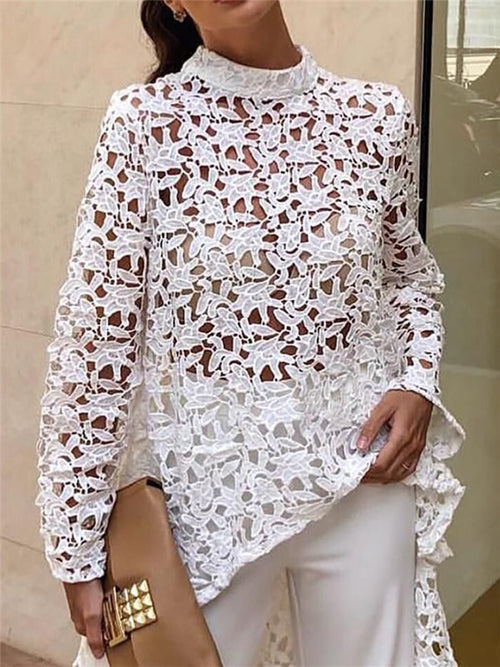 Long Sleeve Hollow Out Asymmetric Lace Blouse