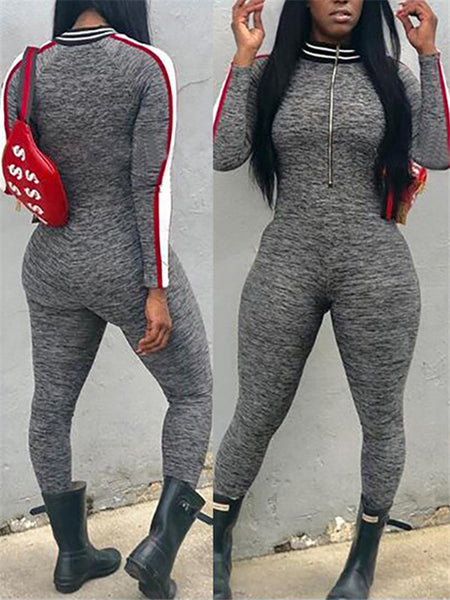 Long Sleeve Quarter Zip Patchwork Jumpsuit
