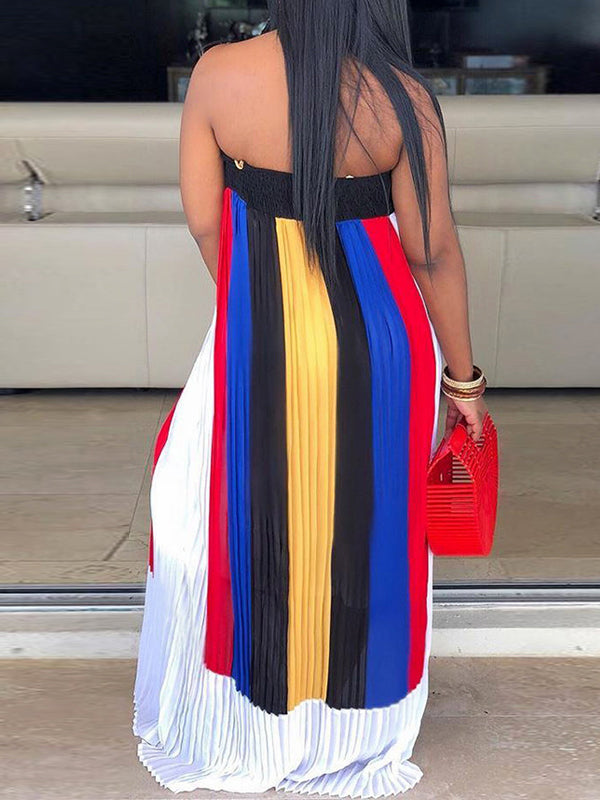 Strapless Color Block Open Back Pleated Maxi Dress