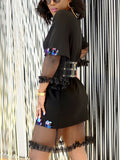 Sequined See-through Mini Dress Without Belt