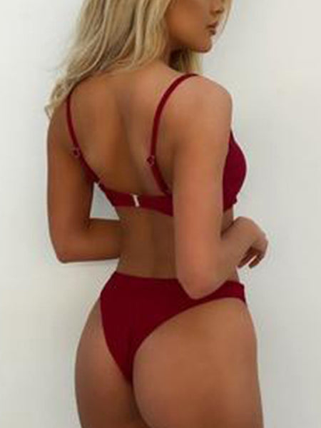 Sexy Solid Two Pieces Bikini