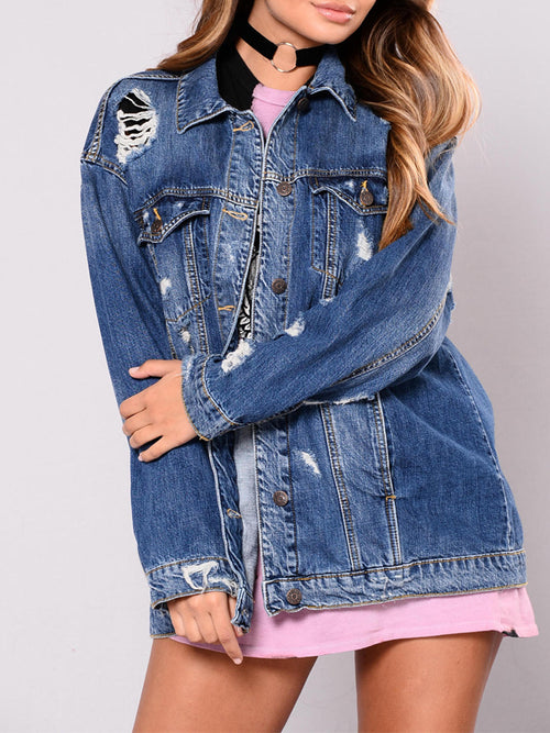 Casual Hollow Out Long Sleeve Denim Jacket