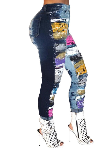 Plus Size Denim Digital Print Pants