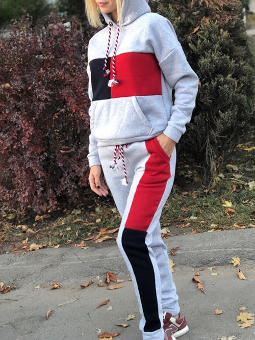 Color Block Long Sleeve Casual Two Piece Sets