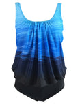 Gradient Color Scoop Neck Sleeveless Tankini