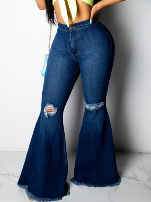 Denim Distressed High Waist Flare Jeans