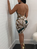 Sexy Backless Print Halter Neck Midi Dress