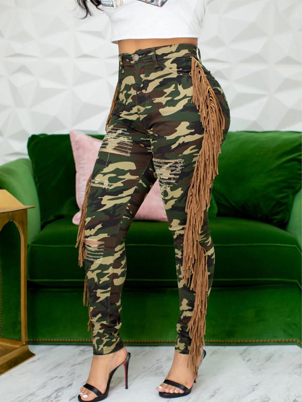 Plus Size Camouflage Printed Hole Distressed Tassel Jeans