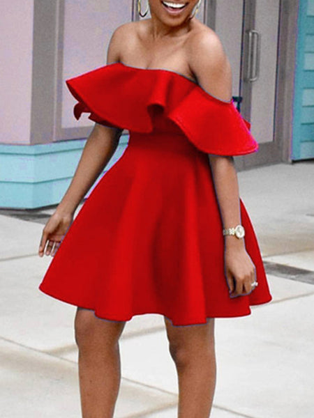 Solid Off The Shoulder Flounced Mini Dress