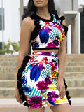 Print Two Pieces Mini Dress With Ruffles